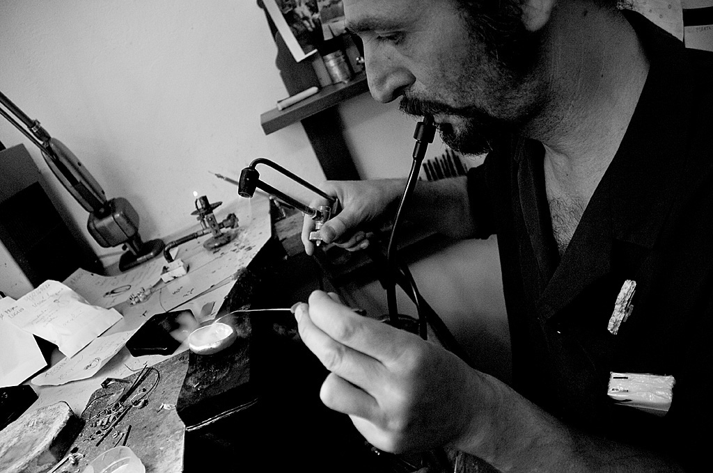 Stefano Zanini at work in his workshop