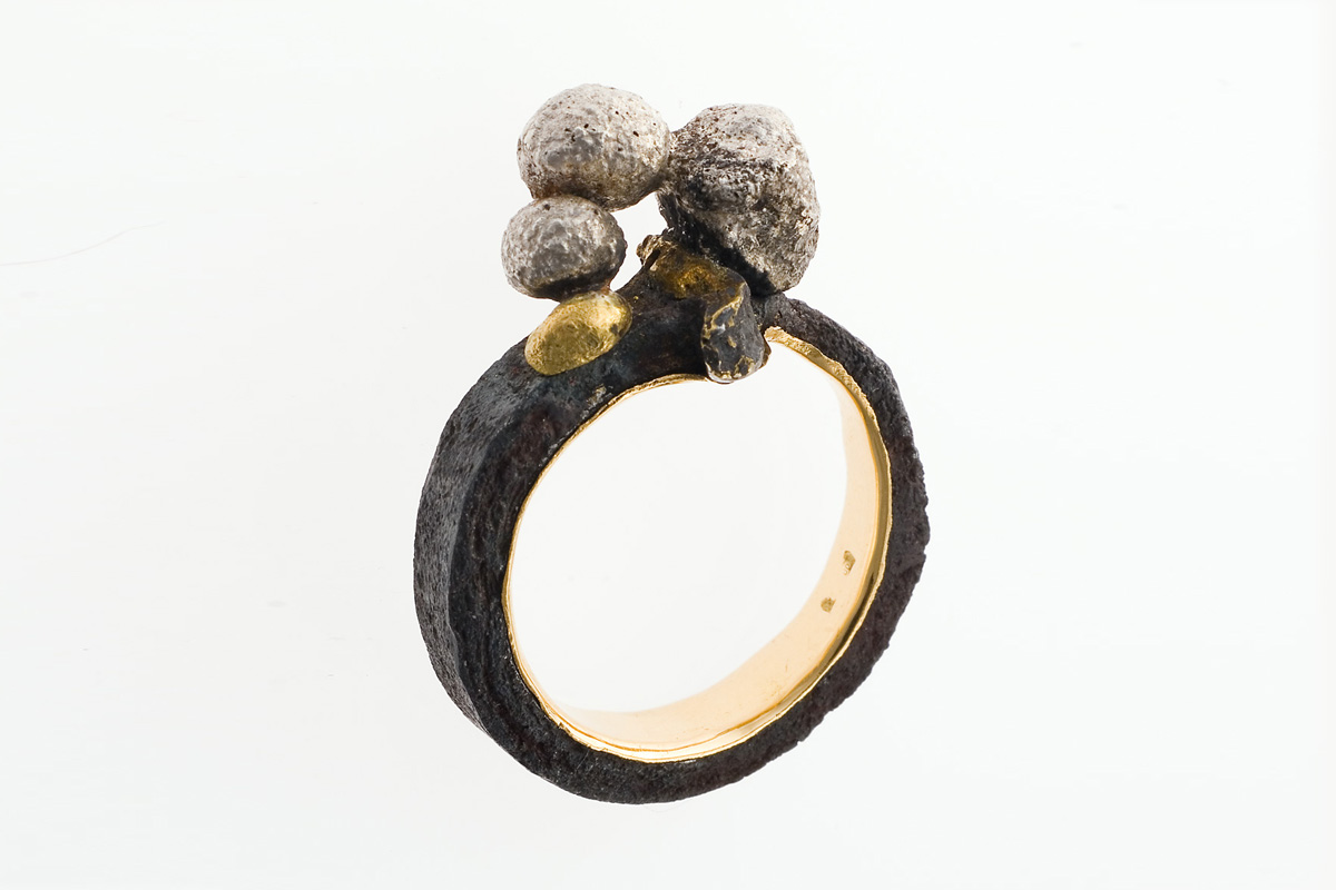 Stefano Zanini ring made of iron gold and silver