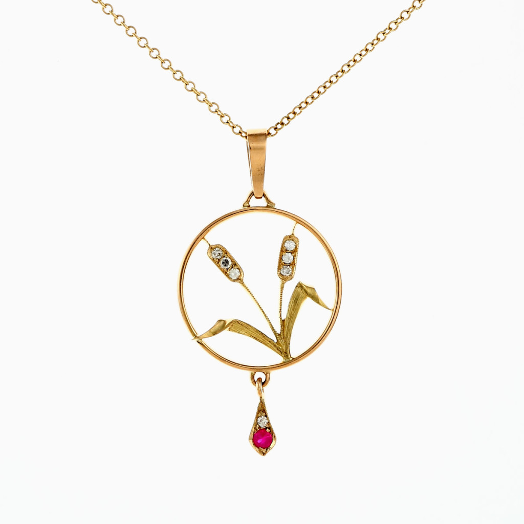 Stefano Zanini pendant made of gold diamonds and ruby