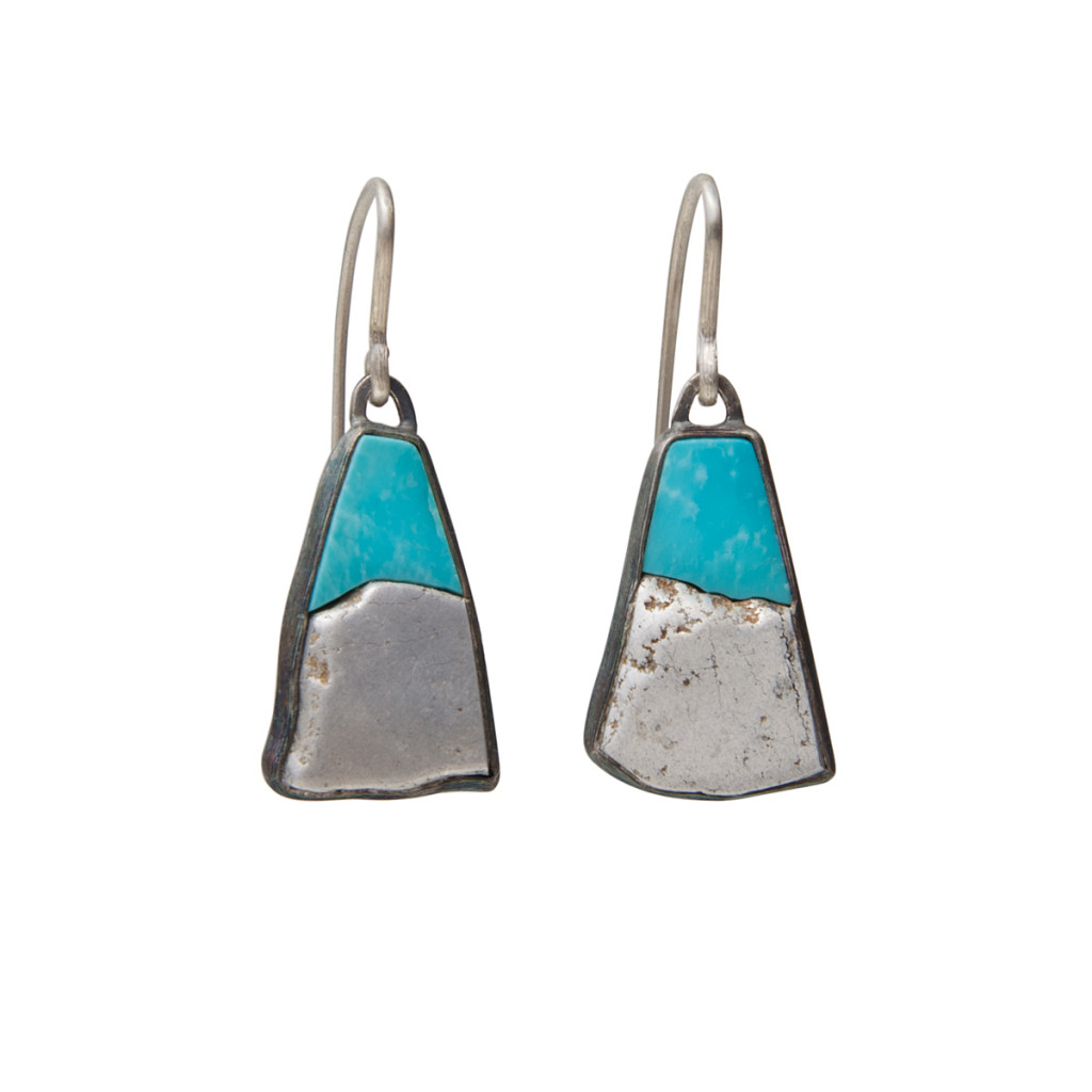 Earrings / Silver, Aluminium, Turquoise